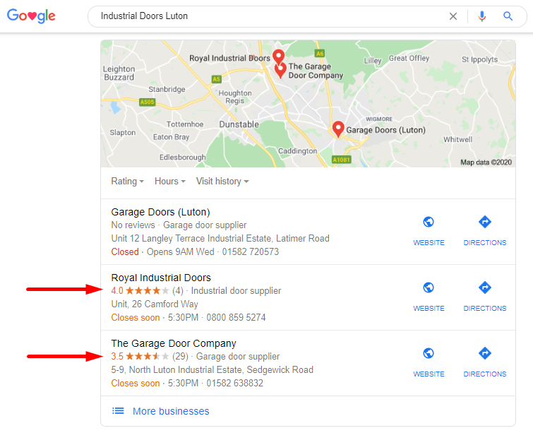 Reviews in the Search Results for your Google My Business profile
