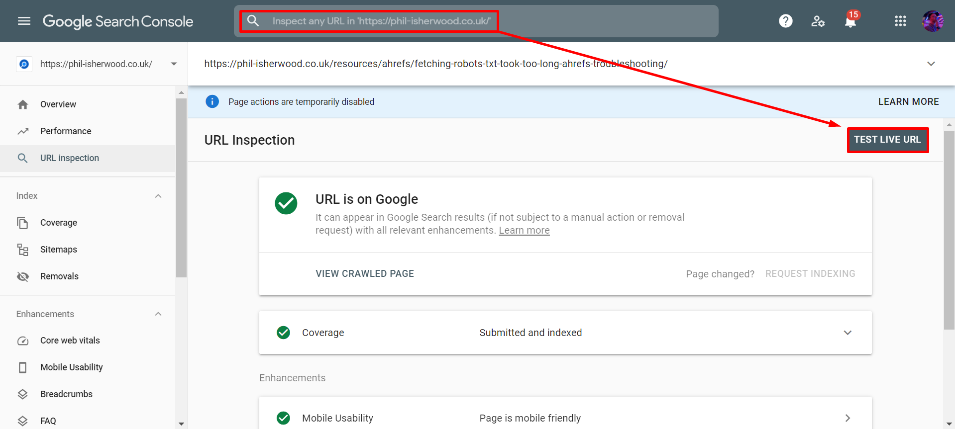 Test Live URL with Google Search Console